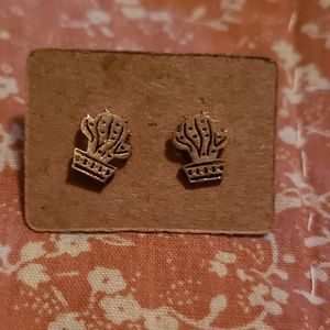 Gold Cactus Earrings